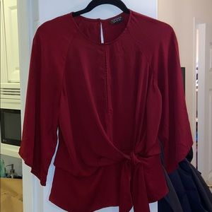 Topshop Red Front Tie Blouse